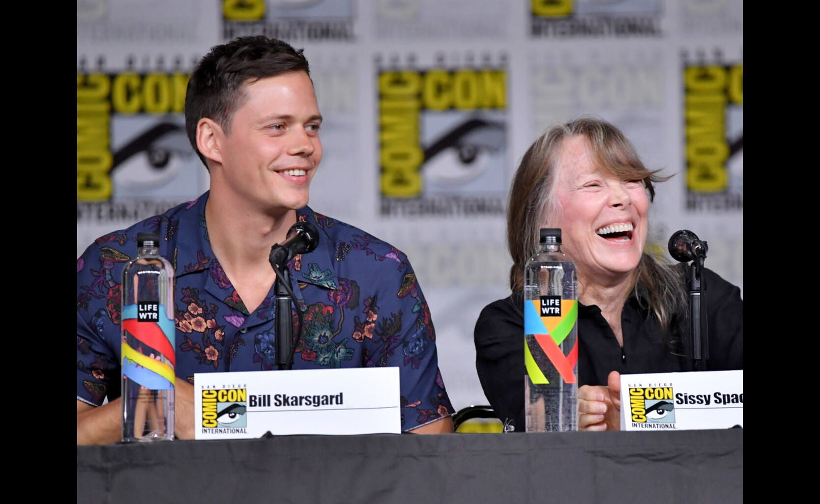 Actors Bill Skarsgard and Sissy Spacek at Comic-Con 2018