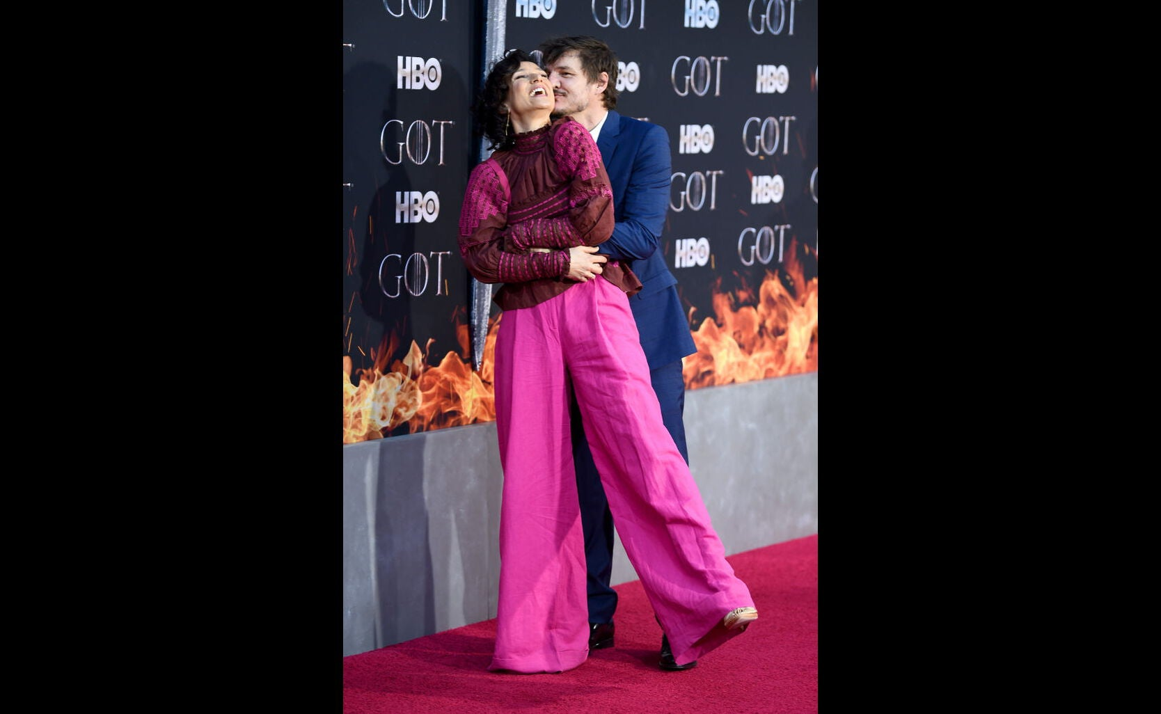 Pedro Pascal and Indira Varma at the premiere of s8 of Game of Thrones