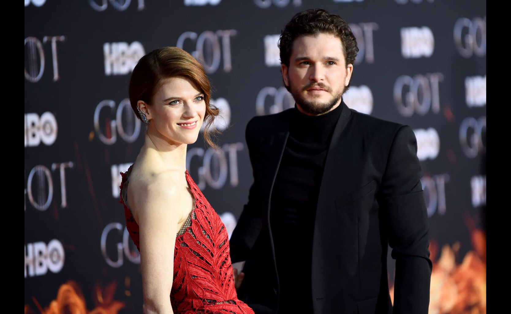 Rose Leslie and Kit Harington at the premiere of Game of Thrones