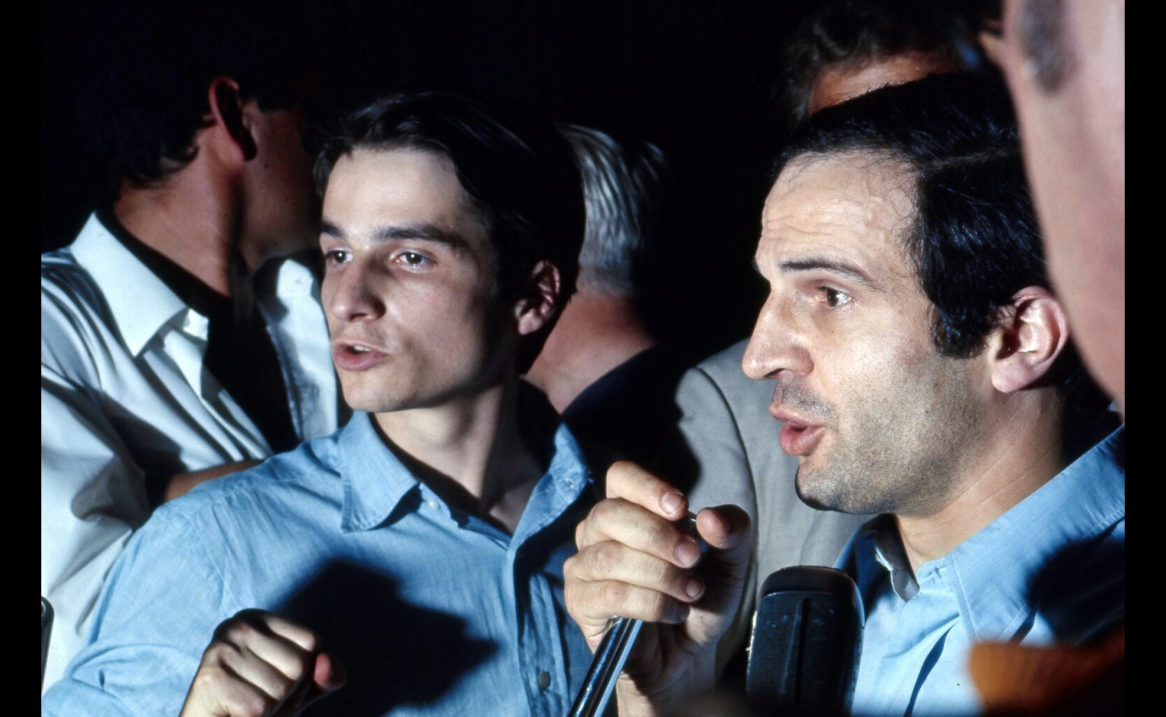 Jean Pierre Leaud and Fraçois TRuffaut protest at 21st Cannes Film Festival