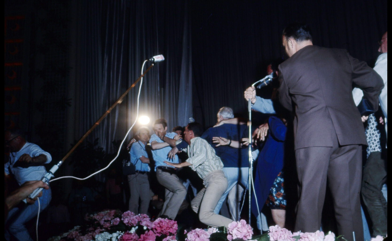 François TRuffait gets hit by a member of the audience at the 21st Cannes Film festival