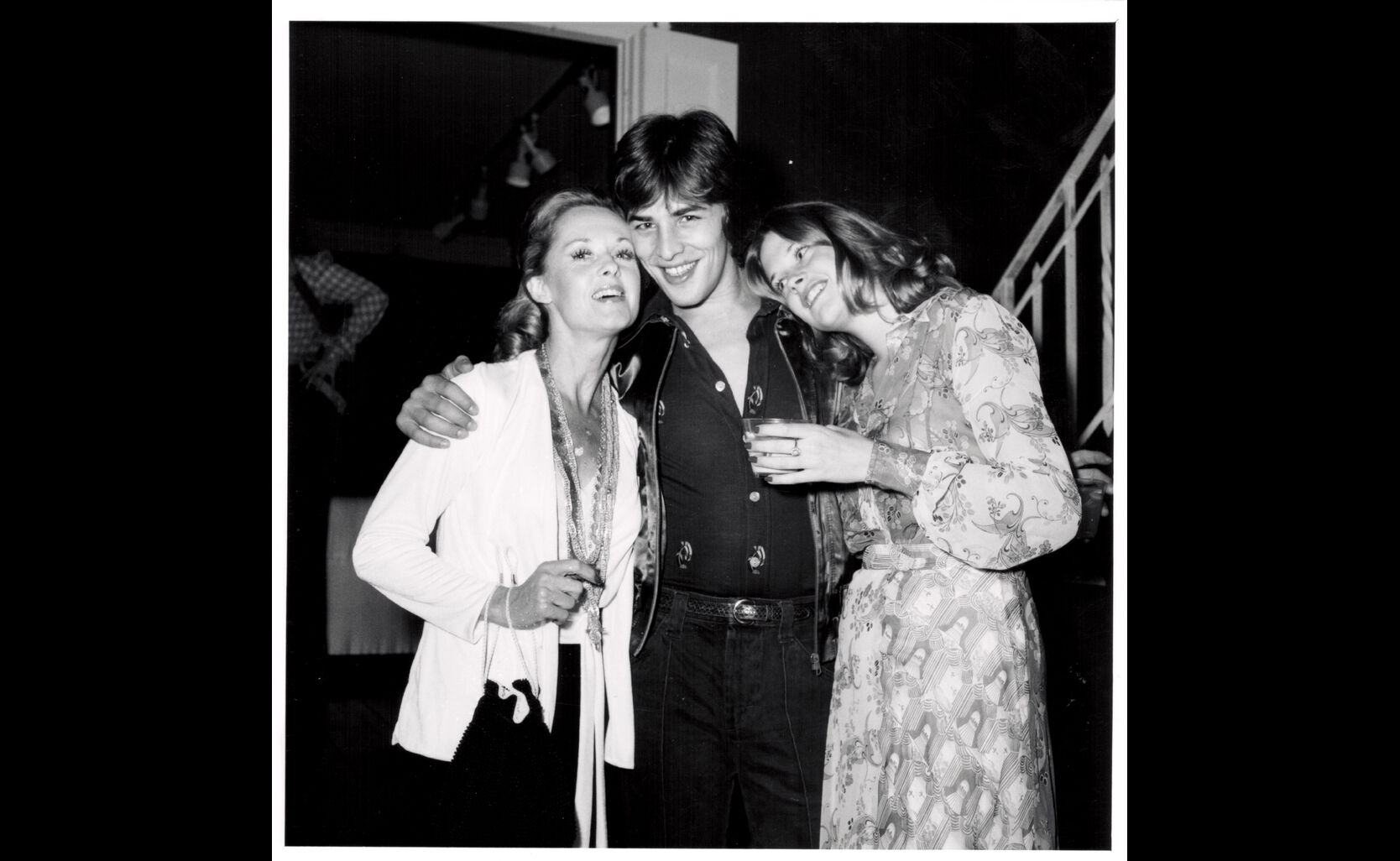 Tippi Hedren, Don Johnson and Melanie Griffith at the Golden Globes, 1973
