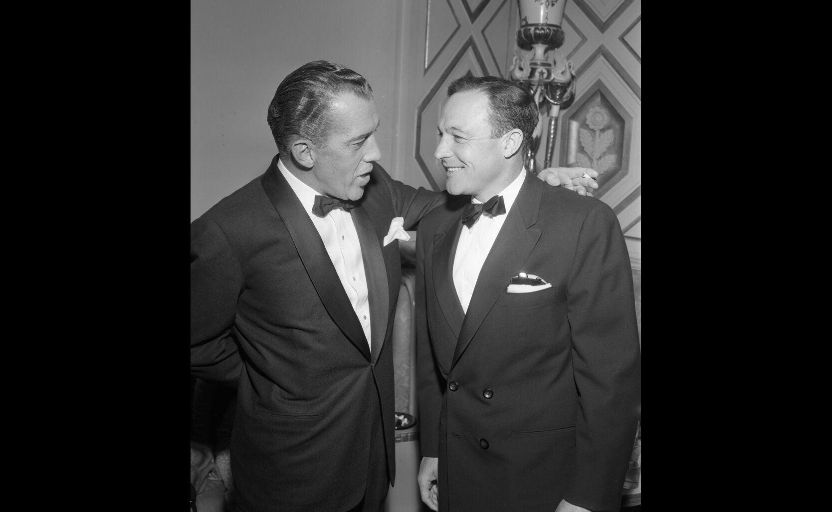 Ed Sullivan and Gene Kelly at the 1959 Golden Globe Awards