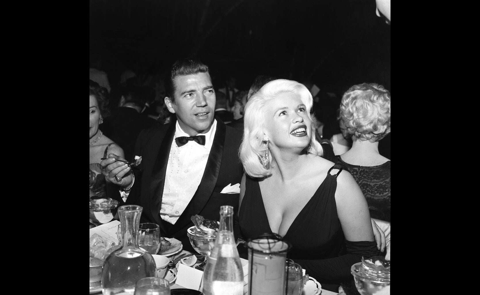 Actress Jayne Mansfield and Mickey Hargitayat the Golden Globes 1958