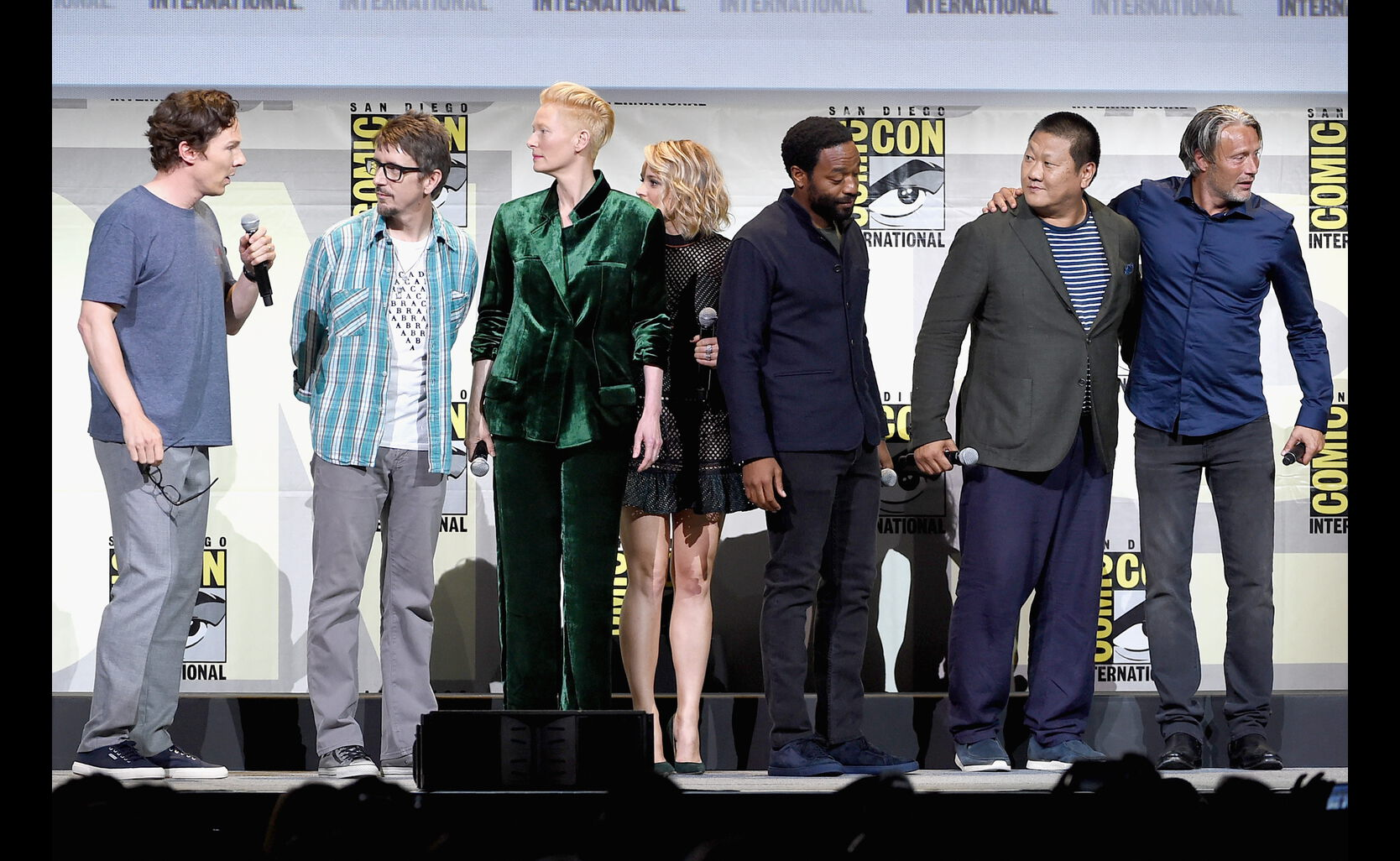 Actor Benedict Cumberbatch, director Scott Derrickson, actors Tilda Swinton, Rachel McAdams and Chiwetel Ejiofor, Mads Mikkelsen and Benedict Wong attend the Marvel Studios presentatio