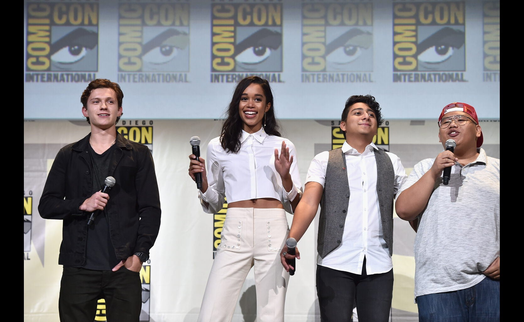 ctors Tom Holland, Laura Harrier, Tony Revolori, and Jacob Batalon from Marvel Studios' 'Spider-Man