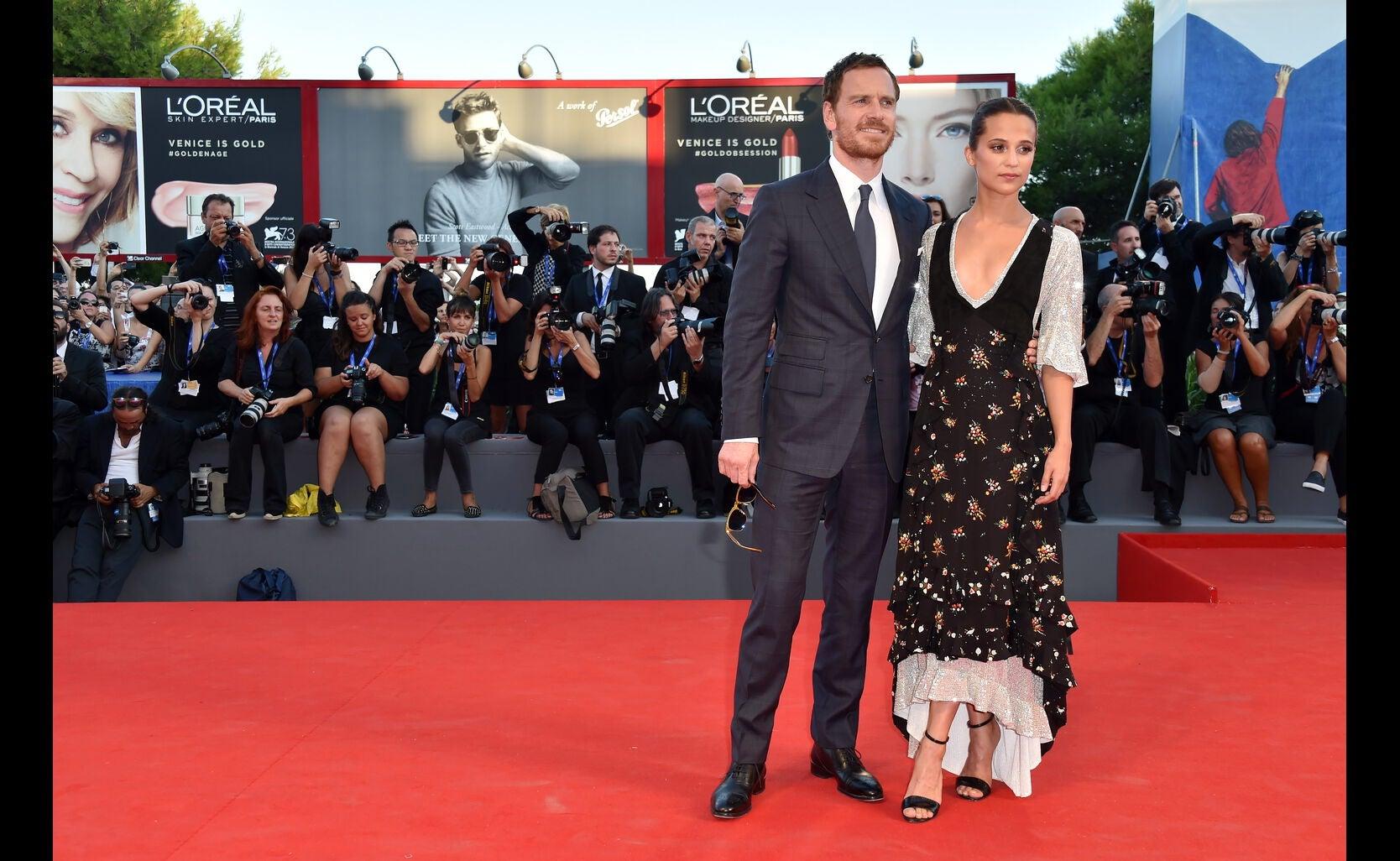 Actors Alicia Vikander and Michael Fassbender, Golden Globe nominees, in Venice 2016