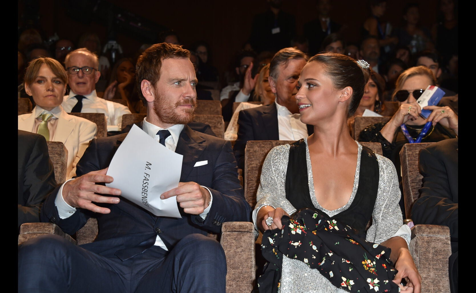 Actors Alicia Vikander and Michael Fassbender, Golden Globe nominees, in Venice 2016