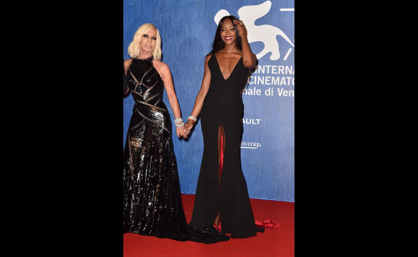 Donatella Versace and Naomi Campbell in Venice 2016