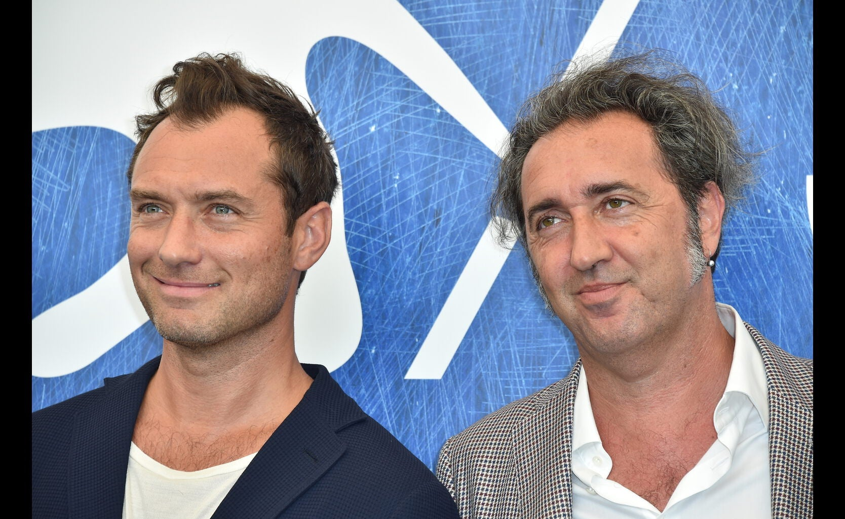 Jude Law, Golden Globe nominee, and director Paolo Sorrentino, Golden Gllobe winner