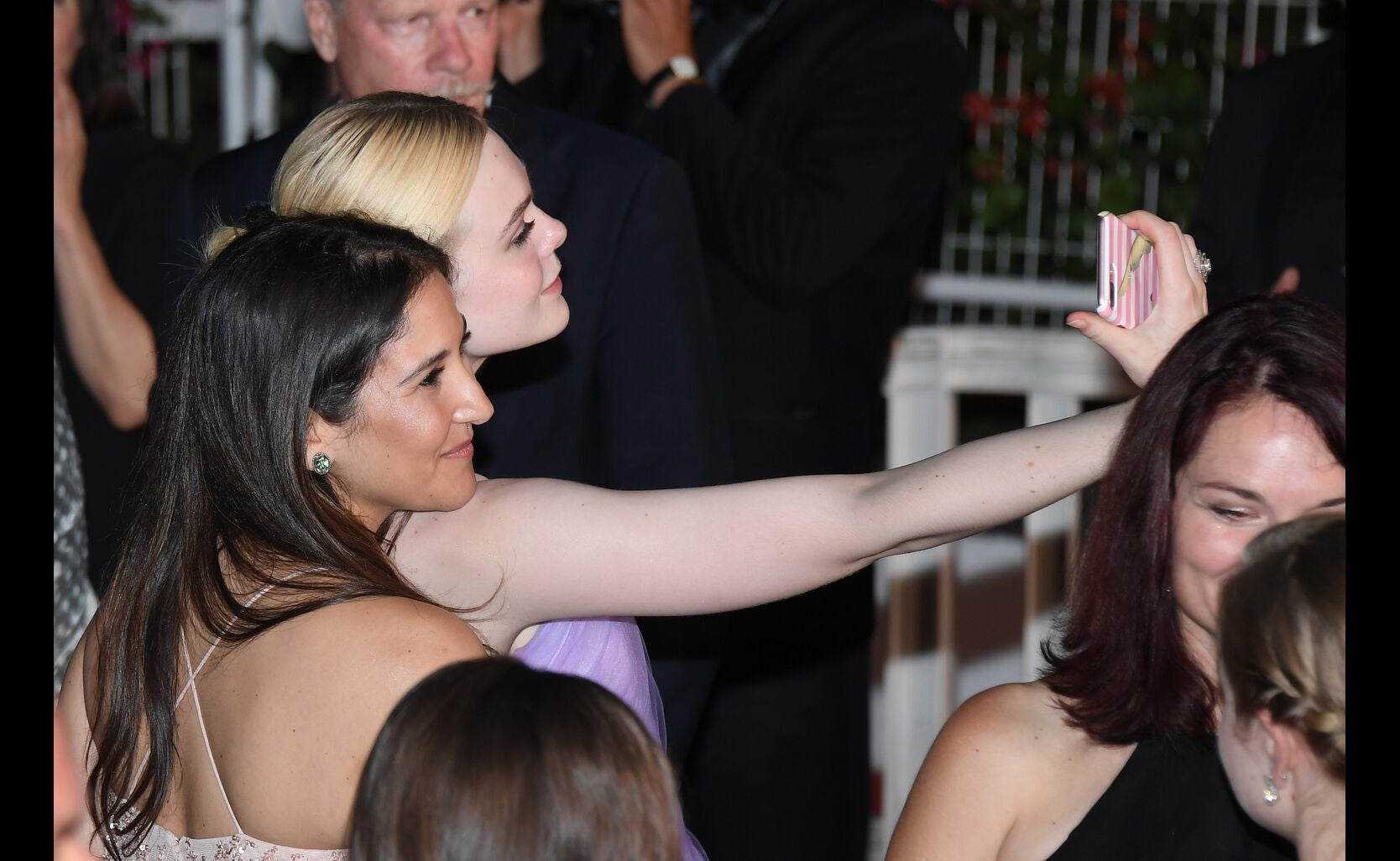 Elle Fanning takes a selfie at the 'The Beguiled' screening during the 70th annual Cannes Film Festival