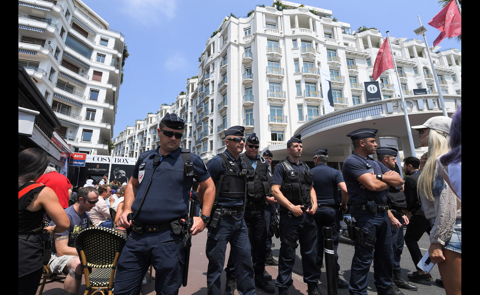 Security forces patrol on the Croisette on May 26, 2017 during the 70th edition of the Cannes Film Festival in Cannes, southern France.