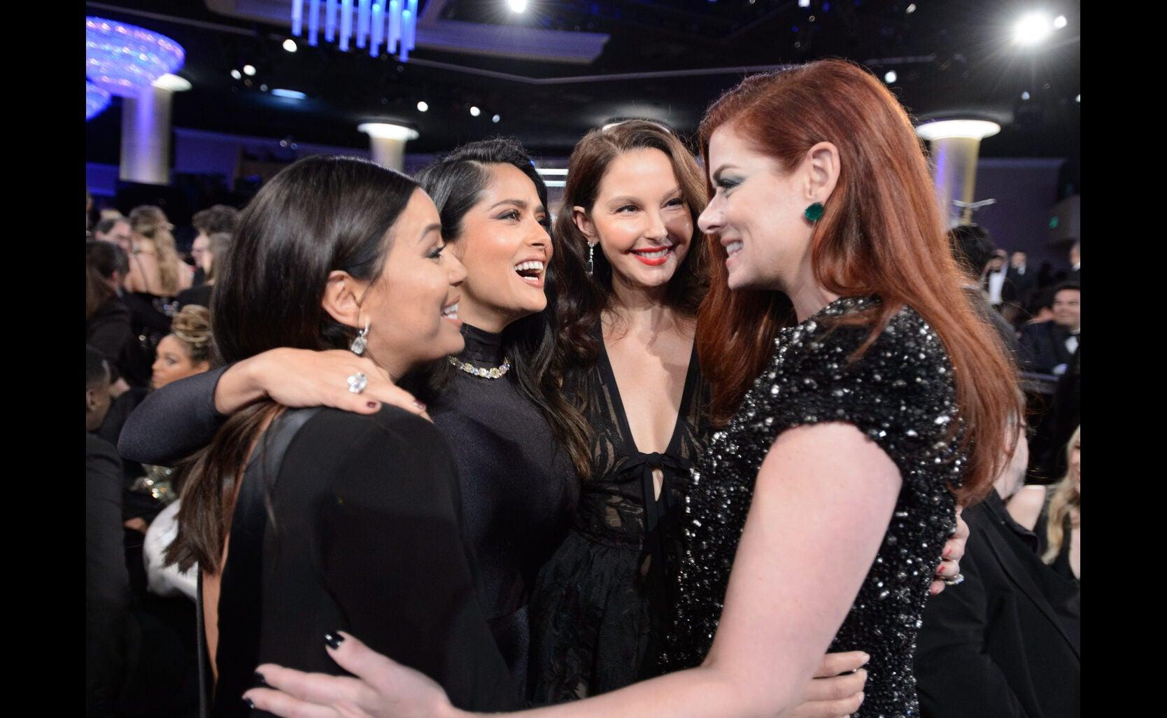 Eva Longoria, Salma Hayek, Ashley Judd and Debra Messing at the 2018 Golden Globes