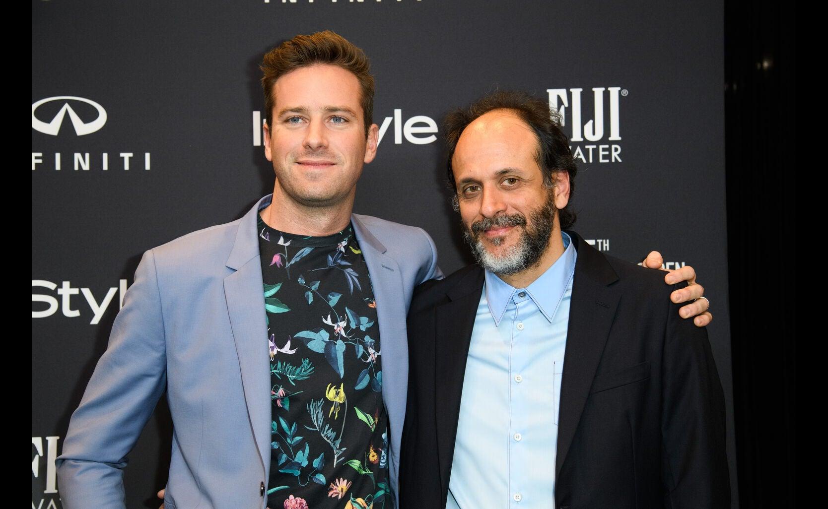 Armie Hammer and Luca Guadaginoat the Golden Globe Ambassador event