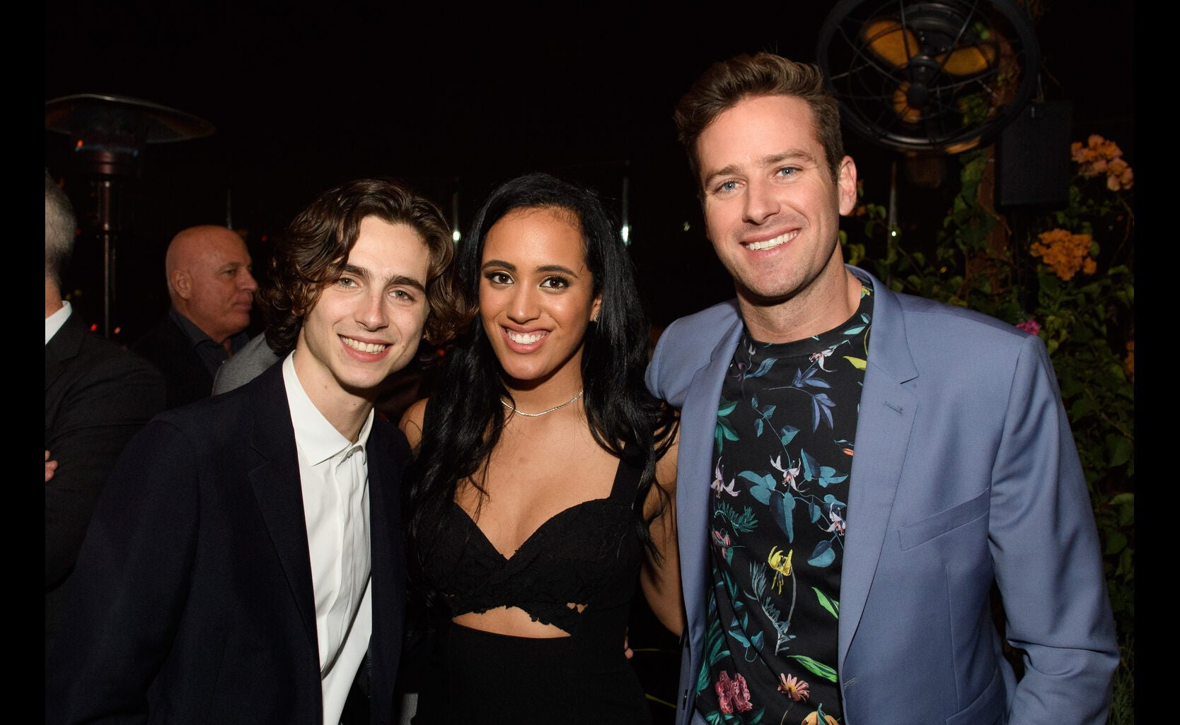 Timothee Chalamet, Simone Garcia Johnson and Armie Hammer at the Golden Globe Ambassador 2018 event