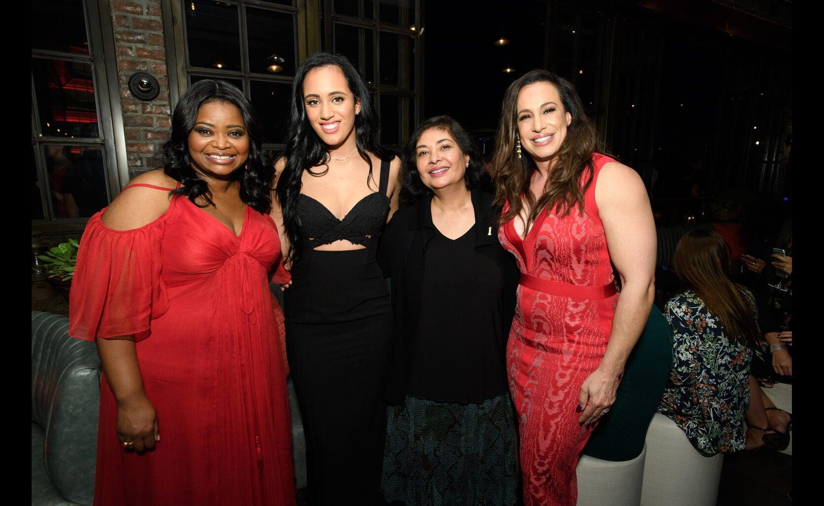 Octavia Spencer, Golden Globe Ambassador Simone Garcia Johnson, HFOA president Meher Tatan and Dany Garcia, Simone's mother, at the Ambassador 2018 event
