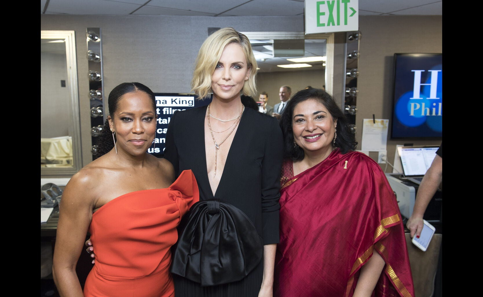 HFPA President Meher Tatna, Charlzie Theron and Regina King at the 2018 Grants Banquet