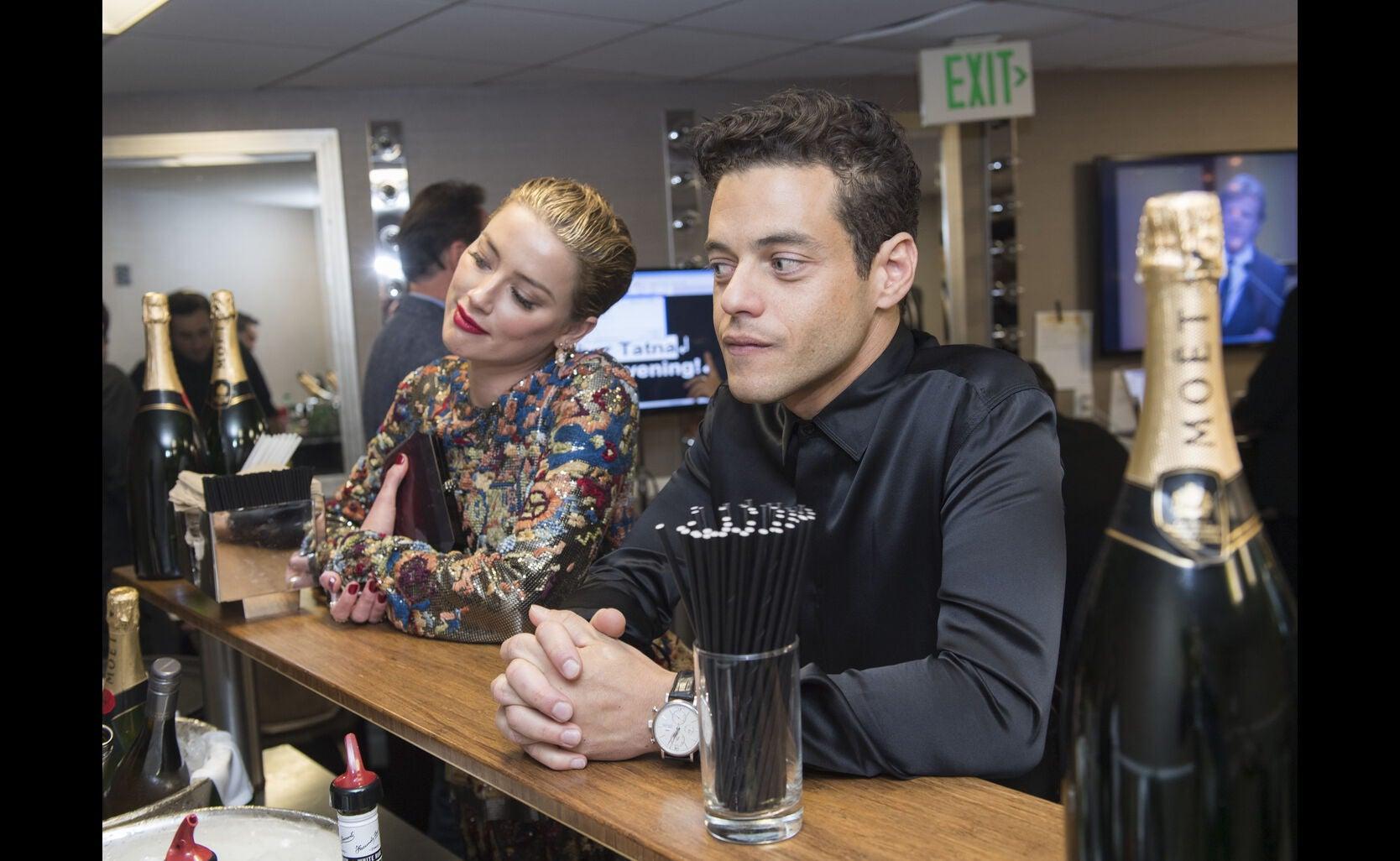 Rami Malek and Amber Heard