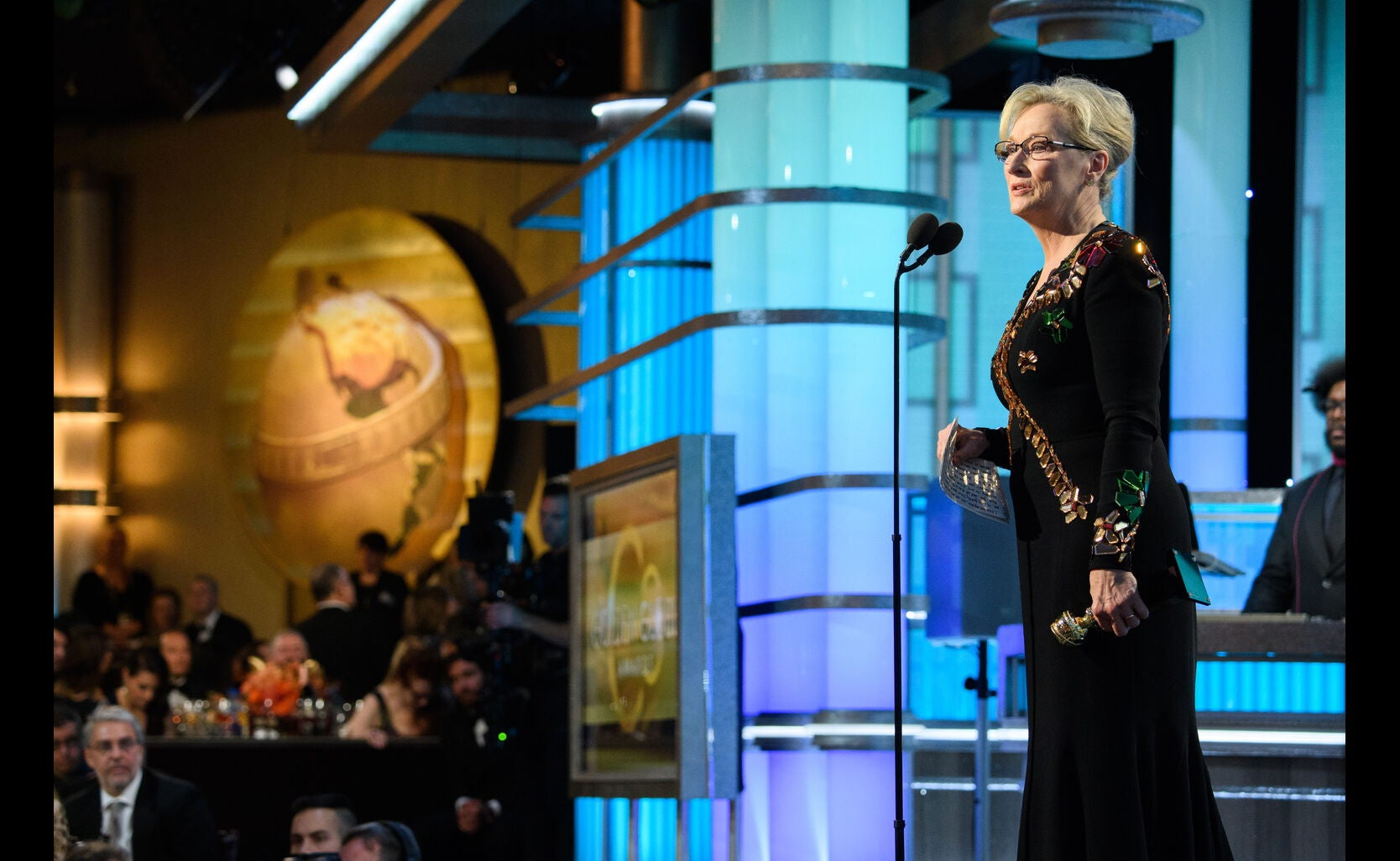 Actress Meryl Streep, Golden Globe winner and nominee, accepts her Cecil B. deMille award