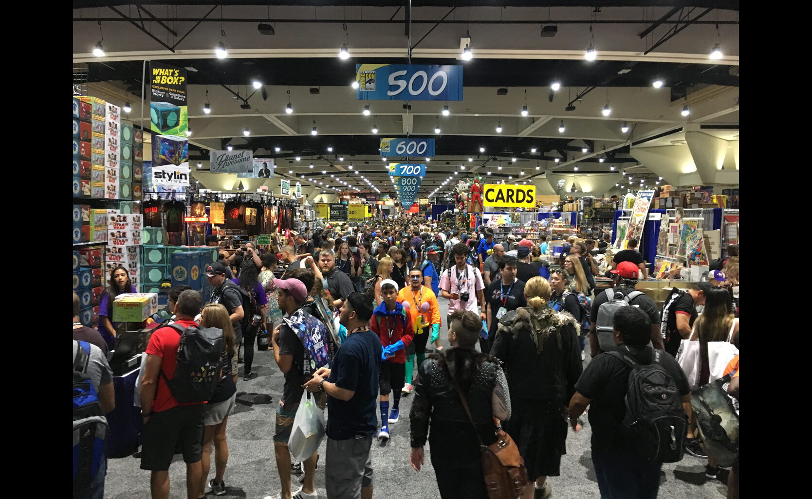 overview of memorabilia at Comic-Con 2018