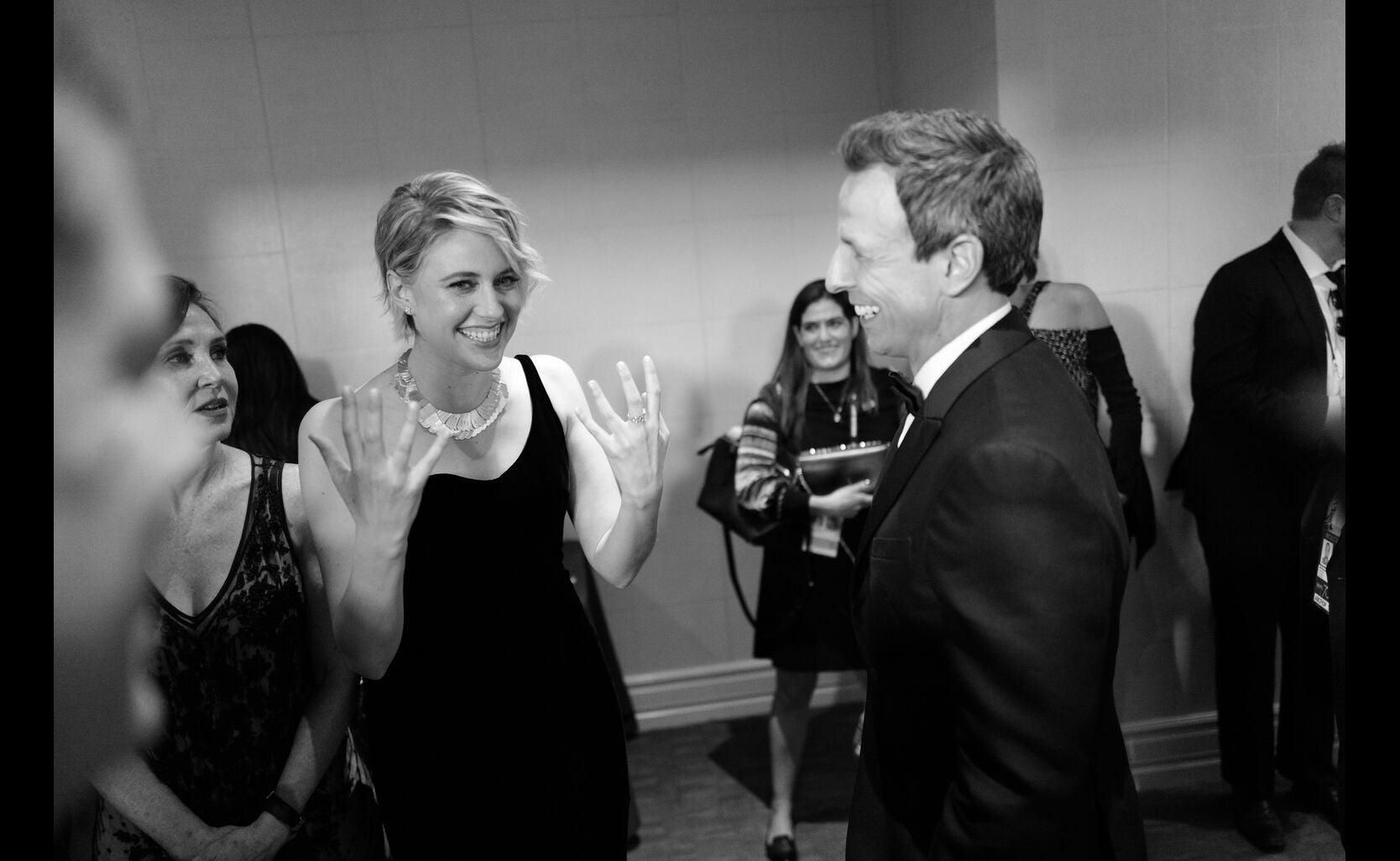 Golden Globe winner Greta Gerwig and host Seth Meyer