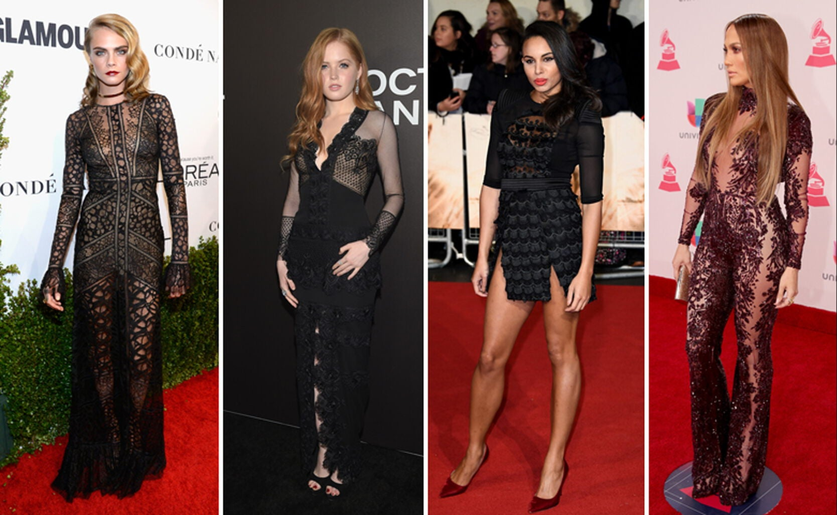 "Cara Delevingne, Ellie Bamber, Louise Hazel and Jennifer Lopez balancing on the edge of ""how much flesh is too much?"""