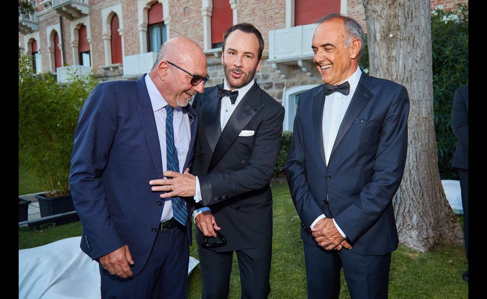 HFPA president Lorenzo Soria, Tom Ford and festival drector Alberto Barbera, HFPA reception, Venice 2016