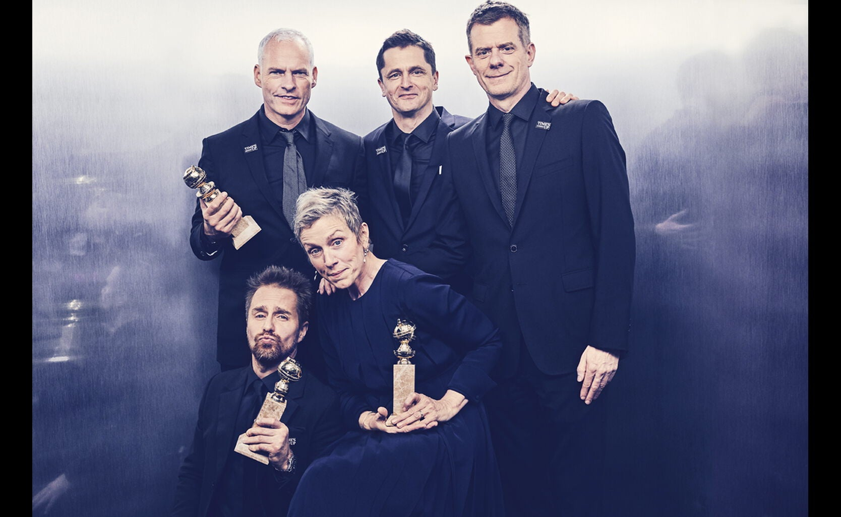 Martin McDonagh, Best Screenplay; Frances McDormand, Best Performance by Actress in a Motion Picture, Drama; Best Motion Picture, Drama - Three Billboards Outside Ebbing, Missouri