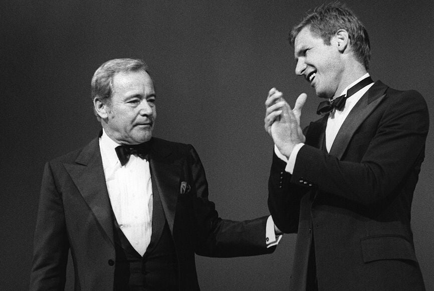 Jack Lemmon and Harrison Ford in Cannes 1982