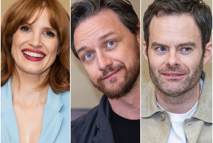 Actors Jessica Chastain, James McAvoy and Bill Hader