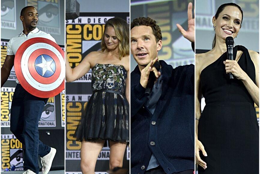 Anthony Mackie, Natalie POrtman, Benedict Cumberbatch and Angelina Jolie at the Marvel presentation at Comic Con 2019