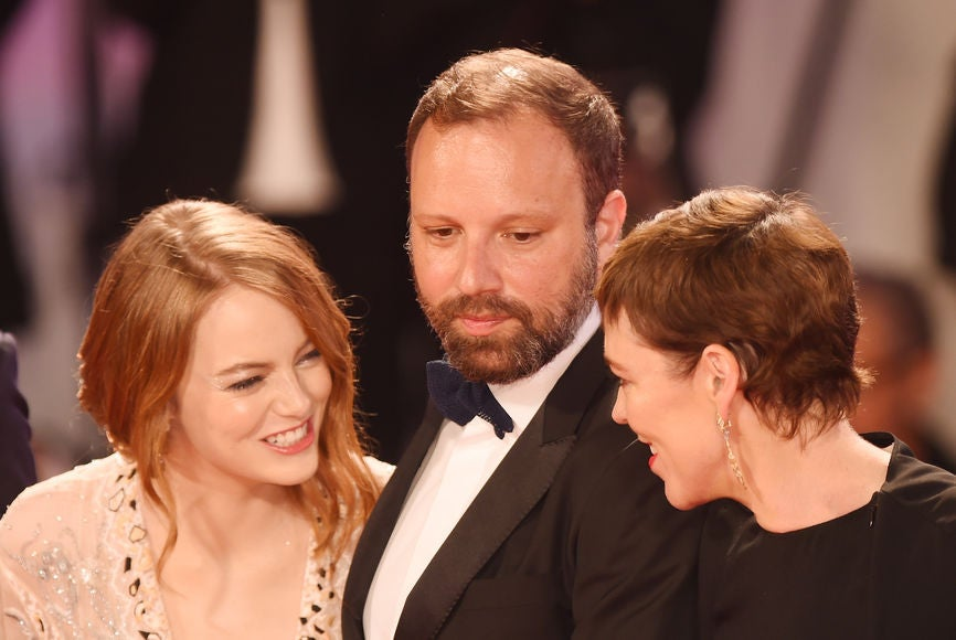 Director Yorgis Lanthomos and stars Emma Stone and Olivia Colman, Venice 2018