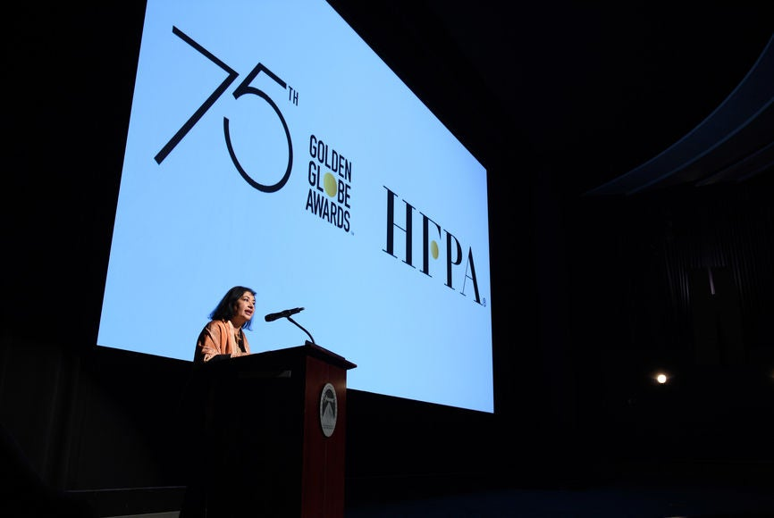 HFPA president Meher Tatna introduces the 75th Golden Globes Special, December 2017