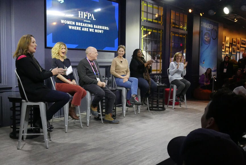 """Elisabeth Sereda (HFPA), Kyra Sedgwick, Cassian Elwes, Jenna Elfman, Octavia Spencer and Silvia Bizio (HFPA) enjoy a laugh at the HFPA's """"Women Breaking Barriers: Where Are We Now?"""" in Sundance"""