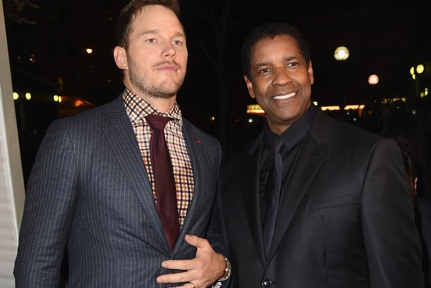 Chris Pratt and Denzel Washington at 41st TIFF for showing of The Magnificent Seven