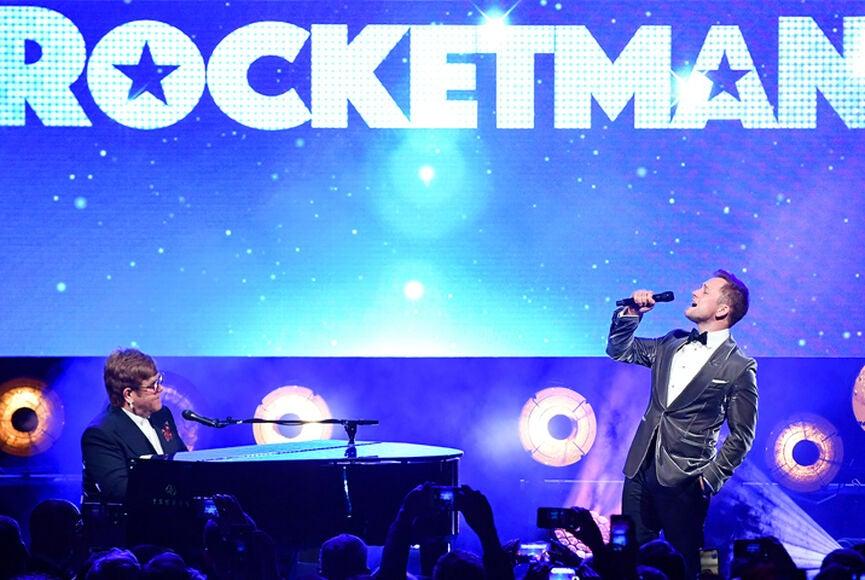 "Sir Elton John and Taron Egerton sing ""Rocketman"" at Cannes 2019"