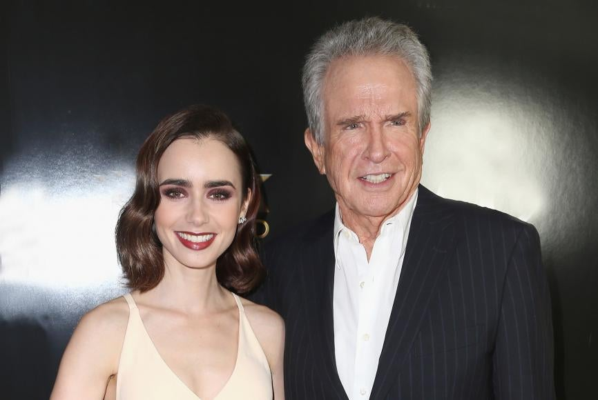 Lily Collins and Warren Beatty