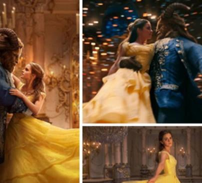 "Scenes from ""Beauty and the Beast"" movie with Emma Watson and Dan Stevens"