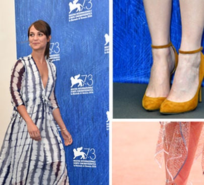 alicia Vikander and shoes at Venice Film Festival