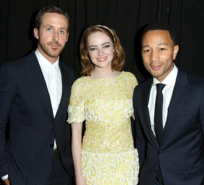 Emma Stone, Golden Globe nominee, Ryan Goslind and John Legend, Toronto 2016
