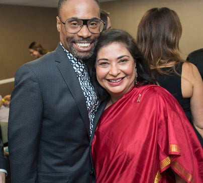 HFPA President Meher Tatna and Billy Porter at the 2018 Grants Banquet