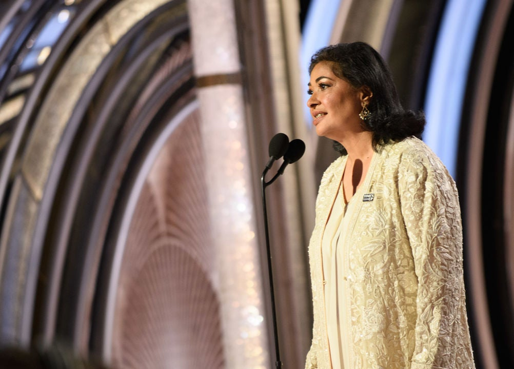 HFPA President Meher Tatna at the 2019 Golden Globes