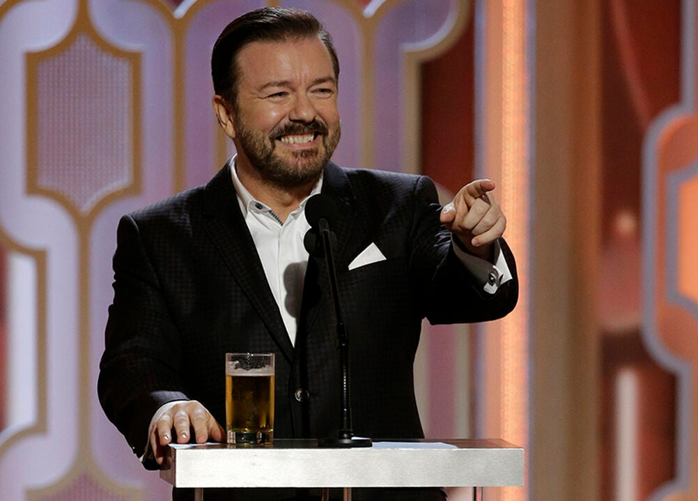 Comedian and actor Ricky Gervais, Golden Globes host