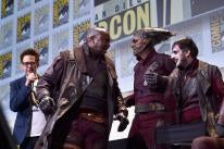 """Director James Gunn (L) and Ravagers from Marvel Studios' """"Guardians Of The Galaxy Vol. 2"""" attend the San Diego Comic-Con International 2016 Marvel Panel in Hall H on July 23, 2016 in San Diego, California."""