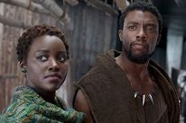 Lupita Nyong'o and Chadwick Boseman ina scene from Black Panther.