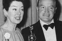 Bob Hope, Cecil B. deMille recipient, and presenter Rosalind Russell at the 20th Golden Globes, 1963