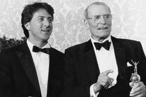 Laurence Olivier and Dustin Hoffman at the 1983 Golden Globes