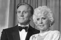 Actress Barbara Stanwyck, Golden Globe winner, Cecil  B. deMille Award recipient, with Kirk Douglas, 1986