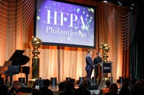 Actors Jamie Bell and Taron Egerton at the 2019 HFPA Grants banquet