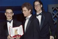The Coen Brothers and JOhn Turturro with the Palme d'Or, Cannes 1991